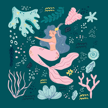 Vector set of cute mermaids and sea plants. Funny cartoon characters and corals are isolated on white. Summer clipart with mermaid girls.