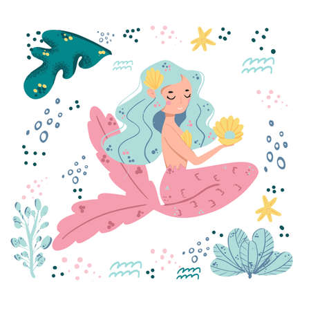 Set of cute mermaids and aquatic nature. Cute sea objects collection. Octopus, seashells, jellyfish and starfish.