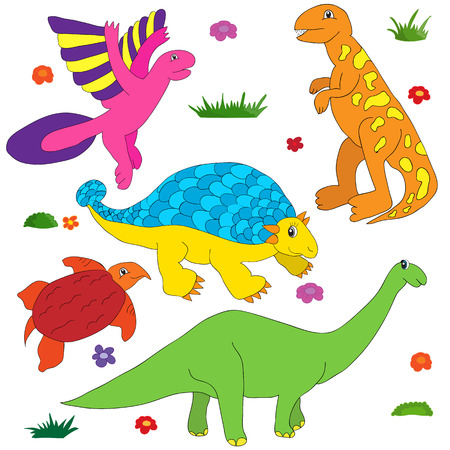 tyrannosaur: Dinosaurs cartoon coloring colorful multi character set