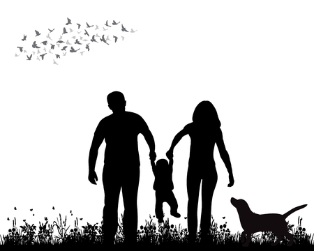 isolated, silhouette family walking on grass, playing Ilustração