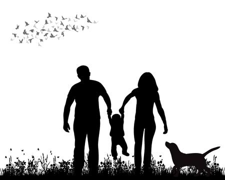 isolato, silhouette famiglia camminando sull'erba, giocando