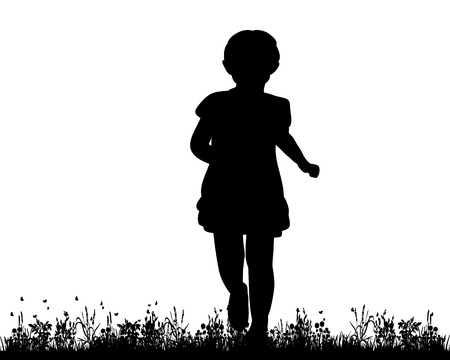 rural road: isolated, silhouette child running along the grass