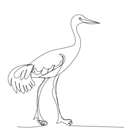 vector, isolated, drawing continuous line crane