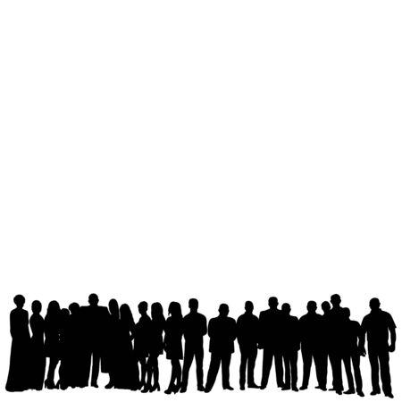 silhouette a crowd of people standing Ilustración de vector
