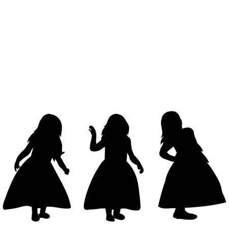 white background black silhouette little girl, girlfriends