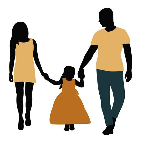 vector, on a white background, silhouette in colored clothes family Vector Illustration