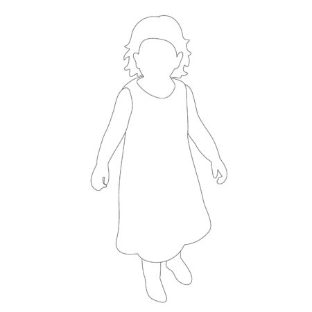 isolated, on a white background, outline sketch child, icon