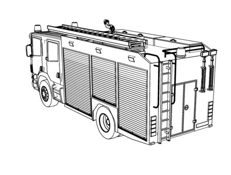 sketch of a fire engine vector on a white background