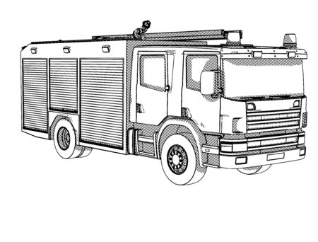 sketch of a fire truck with hatching vector