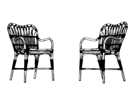 sketch of two armchairs on a white background vector