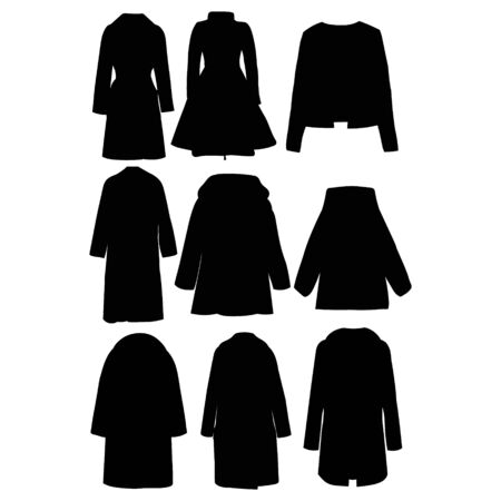 vector, on a white background, women's clothing, coat silhouette, set