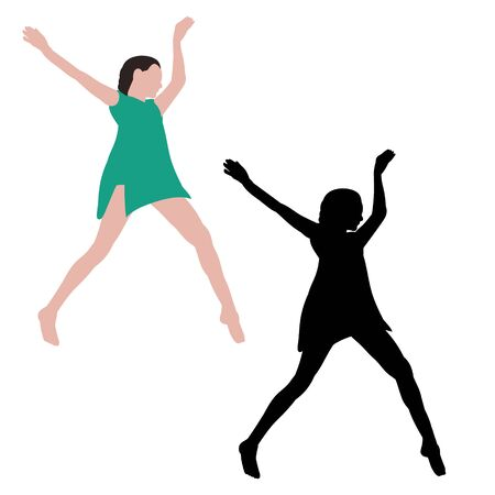 dancing girl, no face, flat style with silhouette