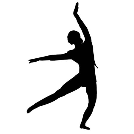 black silhouette girl, woman dancing