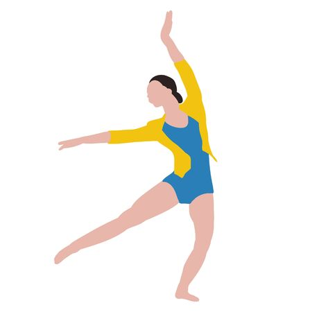 a white background, without face, in a flat style, the girl is engaged in gymnastics