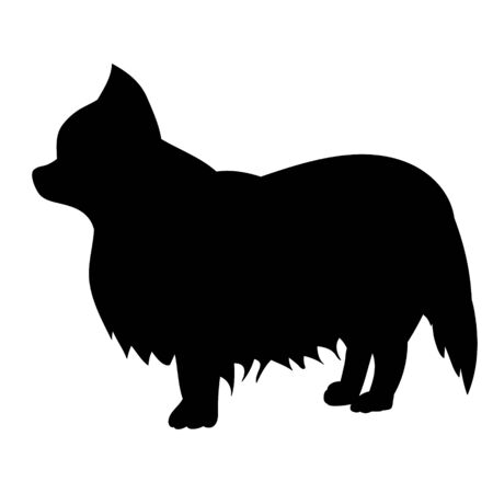 vector, on a white background, black silhouette of a dog
