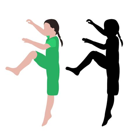 vector, on a white background, dancing girl, no face, flat style