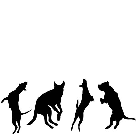 vector, on a white background, icon, black silhouette of a dog jumping, set