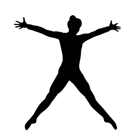 silhouette girl, woman dancing, isolated