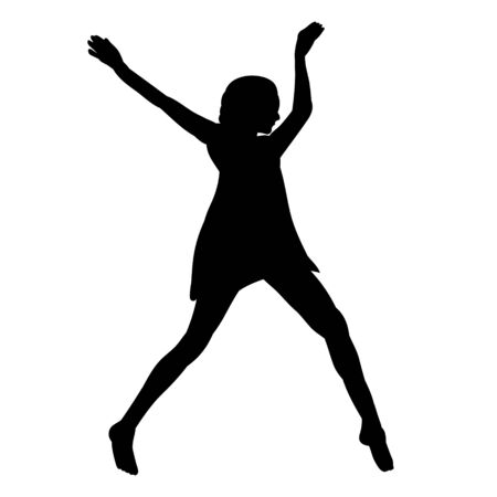 black silhouette girl, woman dancing, dance