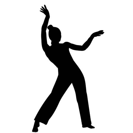 black silhouette girl, woman dancing, isolated