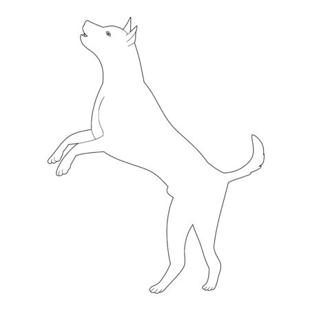 vector, on a white background, outline, sketch dog
