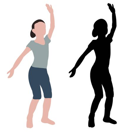 white background, dancing girl, no face, flat style Vectores