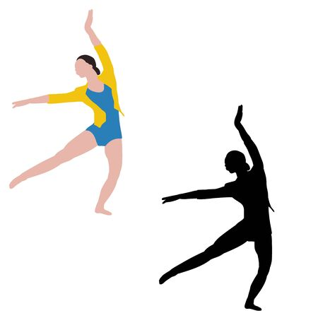 vector, white background, dancing girl