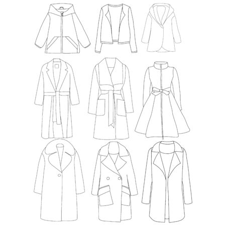 vector, on a white background, women's clothing, coat sketch, set, collection