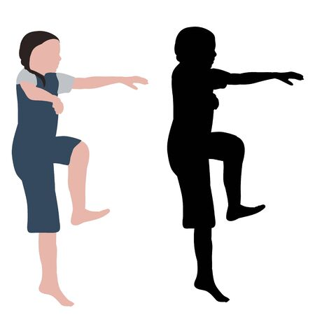 vector, on a white background, dancing girl, no face, flat style with silhouette Vectores