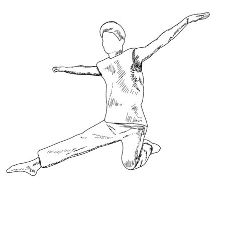 white background, sketch with lines, dancing guy