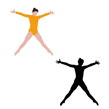 white background, dancing girl, no face Vectores