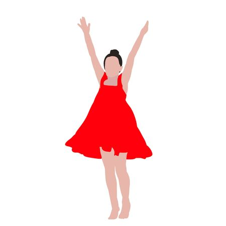 white background, man without face, dancing girl
