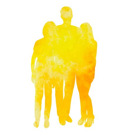 vector, isolated, yellow silhouette watercolor people