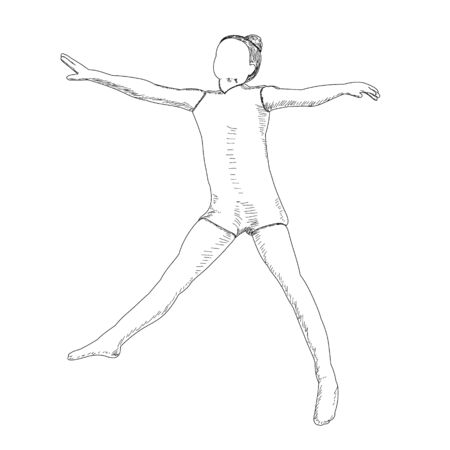 vector, on a white background, contour, sketch girl rejoices Vector Illustration