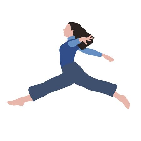 vector, on a white background, without face, dancing girl in a flat style Illustration