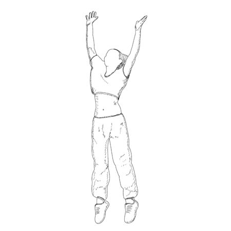vector, on a white background, contour, sketch girl rejoices