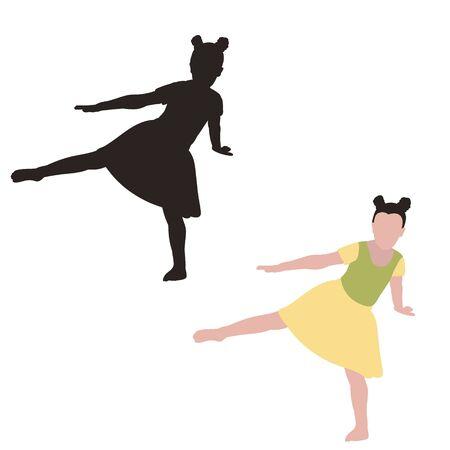 black silhouette of a dancing little girl Illustration