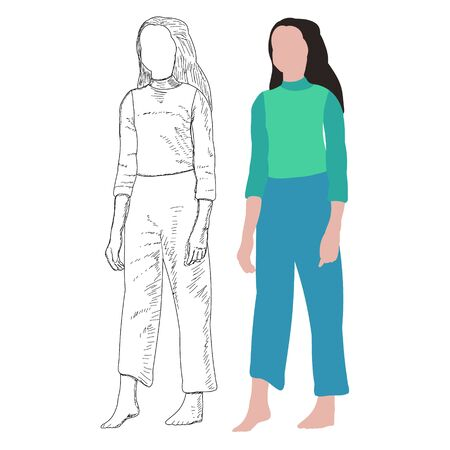 white background, no face, girl in a flat style Vector Illustration