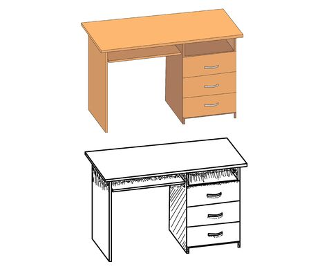 vector, isolated computer desk, sketch of a table