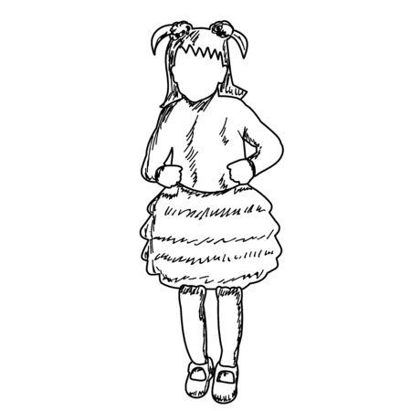 white background, faceless kids dancing sketch, lines Vektoros illusztráció