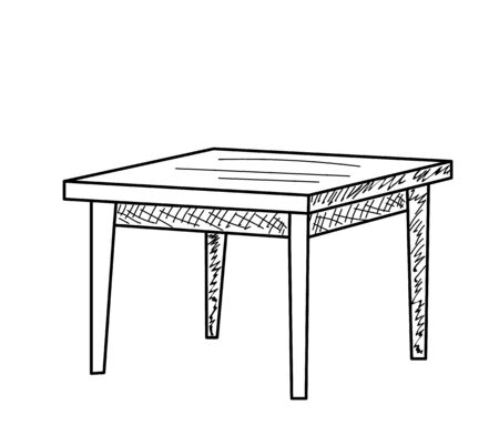 isolated sketch of a table on a white background Иллюстрация