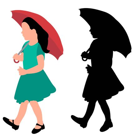 faceless silhouette little girl with umbrella Ilustrace
