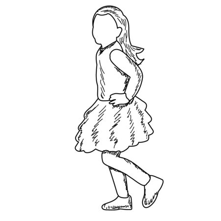 white background, faceless kids, sketch, lines
