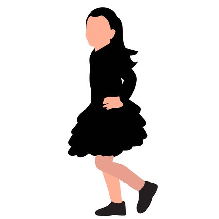 vector, on a white background, silhouette of a girl in a dress