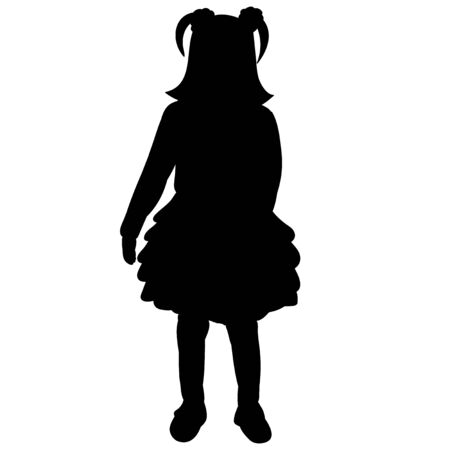 vector, on a white background, silhouette of a child, girl in a dress