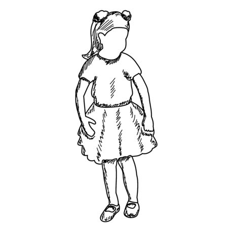 white background, faceless child sketch, lines