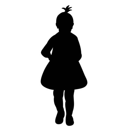 vector, on a white background, black silhouette of a child girl