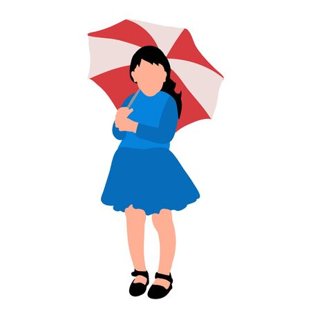 silhouette of a child, a girl with a red umbrella