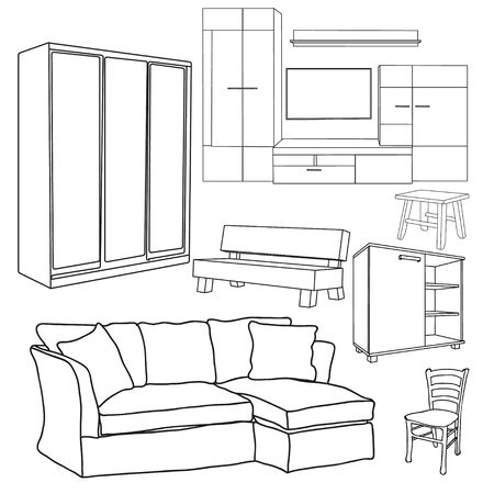 vector, isolated furniture collection of sketches