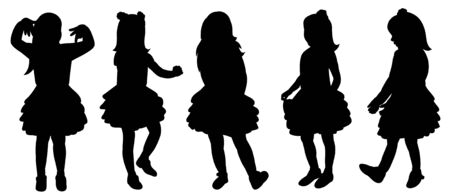 vector, on a white background, silhouette of a child, girl dancing